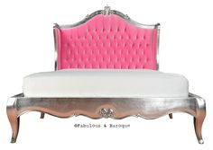 Amelie Tufted Pink Upholstered Bed - Silver Leaf