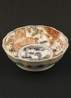 "Kakutomi Imari rice bowl. Edo period (1603 - 1868) Imari rice bowl with decor of bamboo and farmer raking the fields, marked with an Arita ""Kakutomi"" mark to the reverse #antique #japaneseporcelain"