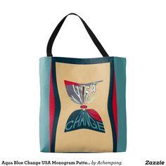 Aqua Blue Change USA Monogram #Pattern design Tote Bag