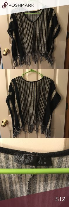 Boho Striped Fringe Sweater Poncho Boxy black and light cream/gray striped sweater poncho. Short, wide open sleeves. Super fun fringe along the entire hem. V-neck! Worn only once. Size not noted but fits like a medium, and I believe that is the size I purchased! EUC. Very cute with cutoff denim shorts or black skinny jeans! Miin Sweaters Shrugs & Ponchos
