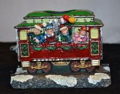 Christmas Holiday Train Resin Candle Holder 5 x 4