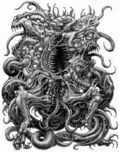 "In stories as ""The Dunwich Horror"" humans and beings from the other side breed and produce horrible, shocking offspring. Quite a different take on the Immaculate Conception and demigods. Hp Lovecraft, Lovecraft Cthulhu, Arte Horror, Horror Art, Tiamat Dragon, Yog Sothoth, Call Of Cthulhu Rpg, Lovecraftian Horror, Eldritch Horror"