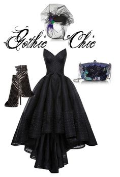"""Gothic chic"" by rangouz ❤ liked on Polyvore featuring Judith Leiber, Zac Posen, Piers Atkinson and Giuseppe Zanotti"