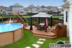 Patio Design - Construction & Design of Patios for a pool Oberirdischer Pool, Swimming Pools Backyard, Pool Landscaping, Pool Fun, Above Ground Pool Decks, In Ground Pools, Patio Deck Designs, Patio Design, Cozy Patio