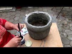 115. Цветочный горшок из бетона. Просто и нeдорого. - YouTube