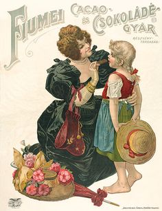 Vintage advertising, Chocolate factory in Fiume - Rijeka Retro Ads, Vintage Advertisements, Vintage Ads, Vintage Posters, Hungary History, Wedding Reception Centerpieces, Candy Centerpieces, Kitchen Posters, Vintage Instagram
