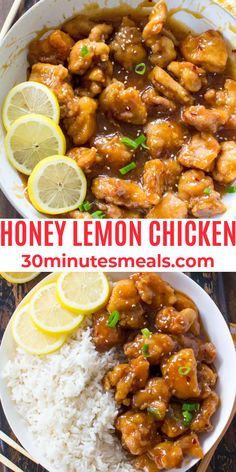 Crispy Honey Lemon Chicken is a restaurant-worthy meal, that can be made at home in just 30 minutes! #chicken #honeylemonchicken #dinner #30minutesmeals