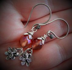 Sterling Silver Flower Fascination Pansies, Dark Peach Fire Polished Beads & SS Cherry Blossom Caps