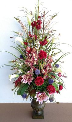 Five foot tall silk floral arrangement in metal container. Designed by Arcadia Floral & Hone Decor. Tall Floral Arrangements, Spring Flower Arrangements, Funeral Flower Arrangements, Beautiful Flower Arrangements, Beautiful Flowers, Altar Flowers, Church Flowers, Funeral Flowers, Fake Flowers