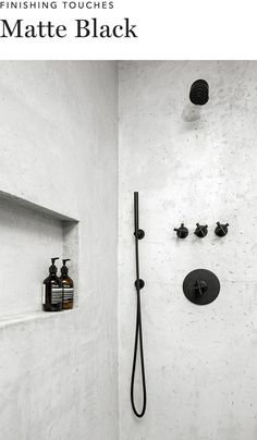 Grey Bathroom with Matte Black shower fittings.