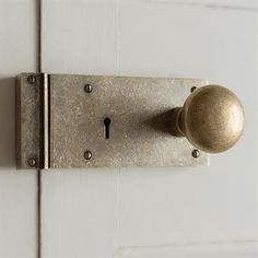 Elegant solid brass, vintage style rim lock traditionally hand crafted in UK and supplied with a Holkham door knob. Left hand rim lock for left side of door, from huge collection of modern and traditional doors made by Jim Lawrence. Door Knobs, Door Handles, Modern Properties, Round Door, Traditional Doors, Natural Building, Door Furniture, Kitchen Handles, Antique Brass