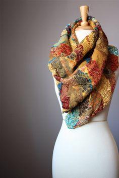 Nuno Felted scarf / shawl Wool Silk Rust / door VitalTemptation