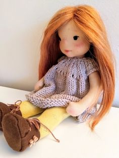 Ayla 11 inches Waldorf inspired doll natural fiber art doll | Etsy Ooak Dolls, Art Dolls, Waldorf Dolls, Steiner Waldorf, Cotton Tights, Felt Shoes, Fiber Art, Doll Clothes, Crochet Hats