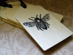Wood Gift Tags   Set Of Four   Bee Gift Tags Of by aunaturelle, $5.00