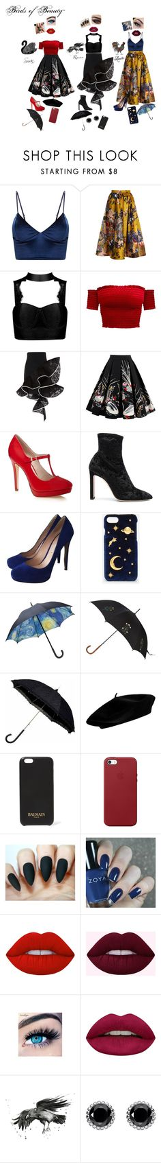 """""""Birds Of Beauty~"""" by weeb-176 on Polyvore featuring Erdem, David Koma, WithChic, Jimmy Choo, Nicholas Kirkwood, CHARLES & KEITH, Alexander McQueen, Balmain, Apple and Lime Crime"""