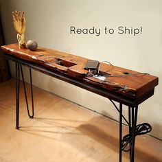 USB charging station, Reclaimed Wood Console Table,cell phone charging station, sofa table, Mid Century Rustic Industrial