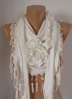 Creamy white Jersey Rose Shawl/ Scarf  Headband by TrendyTextile,