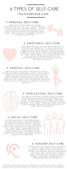 Did you know that there are different types of self-care? Wonder which one you're needing more of? Learning about each type can help you better understand you and your needs. Click through for 6 different types and some ideas for practicing each one. Self Care Activities, Mindfulness Activities, Mindfulness Quotes, Mental Training, Self Care Routine, Care Quotes, Quotes About Self Care, Best Self, Body Fitness
