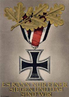 """A German Winterhilfswerks postcard by Gottfried Klein reading """"Es kann nur einer siegen und das sind wir"""" (""""Only one can be victorious and that will be we""""), based on a speech by Adolf Hitler on November 8, 1939. He was incorrect."""