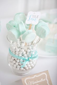 Lovely candy display at a Lace and Pearls Bridal Shower!  See more party ideas at CatchMyParty.com!  #partyideas #bridalshower