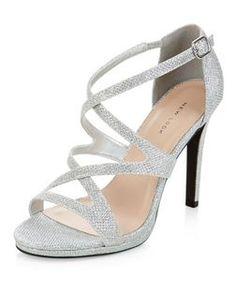 Silver Glitter Strappy Heels  | New Look