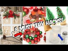 Today, I'll be showing you 8 super easy hacks that are great for the Holiday season! You can even take these hacks and use them for somet. Christmas Decor Diy Cheap, Christmas Hacks, Diy Christmas Ornaments, Simple Christmas, Christmas Projects, Holiday Crafts, Christmas Bulbs, Country Christmas, Merry Christmas