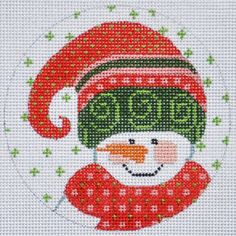 Beautiful hand painted canvas measures x inches in 18 mesh. Full color design is easy to see while you stitch to your heart's content! Cross Stitch Cards, Cross Stitch Kits, Cross Stitching, Cross Stitch Patterns, Christmas Charts, Christmas Cross, Christmas Sock, Handpainted Christmas Ornaments, Christmas Perler Beads