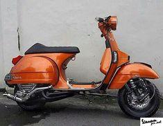 Custom orange metallic Vespa PX racing