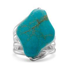 Diamond Shape Stabilized Turquoise Ring
