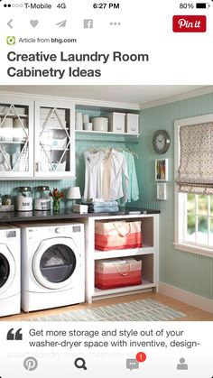Laundry room - favorite design - needs modifications (slide out basket where lower cabinet is)