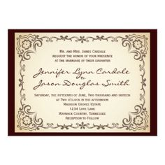 Vintage Country Scroll Frame Wedding Invitations #SOLD on #Zazzle