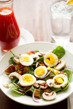 My favorite spinach salad! Warm Spinach Salad with Bacon, Mushrooms & Hard-Boiled Eggs (hold the bacon) Warm Spinach Salads, Bacon Spinach Salad, Spinach Egg, Baby Spinach, Salad Bar, Soup And Salad, Salad Dressing Recipes, Salad Recipes, Bacon Stuffed Mushrooms