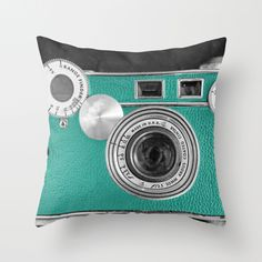 Teal retro vintage phone Throw Pillow