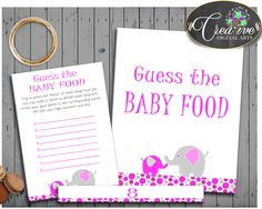 GUESS The BABY FO... http://snoopy-online.myshopify.com/products/guess-the-baby-food-game-for-baby-girl-shower-with-magenta-pink-elephant-theme-printable-digital-files-instant-download-ep001 #babyshowergift #babyshowerinvitations #babyshowersigns