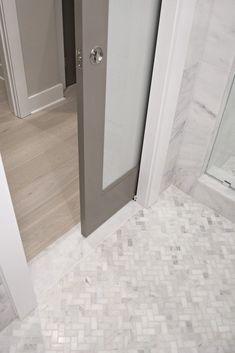 Cool Small Master Bathroom Renovation Ideas 46 pocket door w/routed honed marble threshold #bathroomrenovationsideas