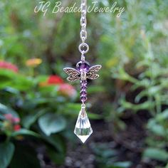 Purple Dragonfly Crystal Suncatcher Rearview Car Charm or Window Decoration Charm Jewelry, Jewelry Crafts, Handmade Jewelry, Jewelry Ideas, Car Mirror Decorations, Dragonfly Wings, Crystal Decor, Wire Wrapped Jewelry, Wire Jewelry