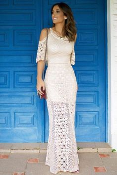 Elegant handmade crochet summer wedding handmade bridal dress - Made to order