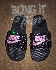 Bling Nike Slides w/ Swarovski Crystals & Pearls Bedazzled Shoes, Bling Sandals, Nike Sandals, Bling Shoes, Nike Slides, Custom Design Shoes, Custom Shoes, Nike Huarache, Crocs Fashion
