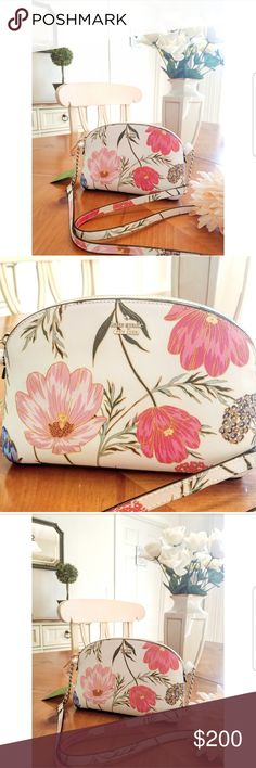 Kate Spade spring 2018 floral purse Very pretty! Floral Kate Spade purse, NWT. Crossbody. Bag is floral print and features hydrangea, thistle leaves and roselette peonies <--- my inner gardner obsessively feels the need to identify every flower in floral print, lol. But its a really pretty bag. Im firm on my price because of posh fees. kate spade Bags Crossbody Bags