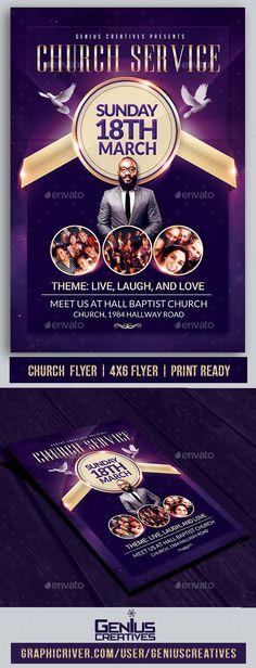 Church Service Flyer Template For 7 FlyerTemplate GraphicRiver ChurchFlyer BestDesignResources