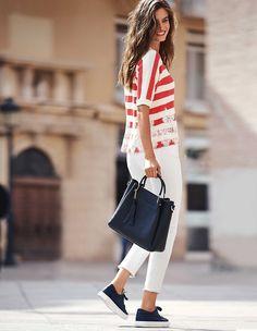 Streifenpullover mit Spitzenbordüre, tomate/weiß, rot, weiß | MADELEINE Mode Madeleine Fashion, Women's Fashion, Shirt Dress, Shirts, Dresses, Stripes, Lace, Female Fashion, Red