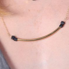 """A long #gold curved bar and square black onyx beads necklace.  Very unique and special design. Perfect for you!    Model wearing 20"""" length.   Necklace Measures  Approximate... #etsy #styles #fashion #shopping #jewelry #minimalist"""