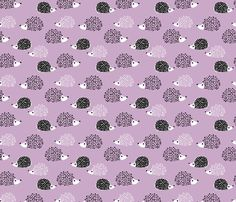 Scandinavian sweet hedgehog illustration for kids gender neutral spring black and white pink lilac violet fabric - surface design by Little Smilemakers on Spoonflower - custom fabric and wallpaper inspiration for kids clothes fun fashion and trendy home decorations.