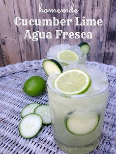 Cucumber Lime Agua Fresca ... a real food version with no refined sugars. Super refreshing, hydrating + slightly sweet ... perfect drink on hot summer days. Click here for the recipe. | Recipes to Nourish
