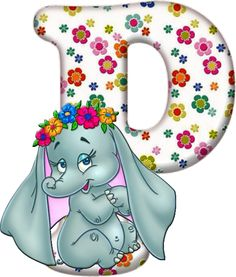 Flowered Alphabet with an Elephant. Alphabet Letters Design, Flower Alphabet, Alfabeto Disney, Birthday Letters, Disney Coloring Pages, Lettering Design, Clip Art, Elephants, Cakes