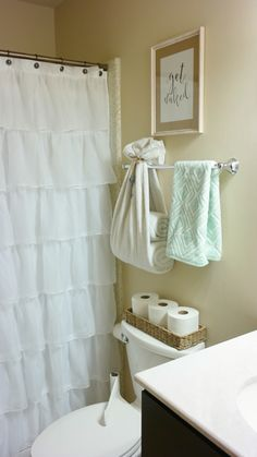bright and fresh bathroom decor ruffle shower curtain towel holder get naked print