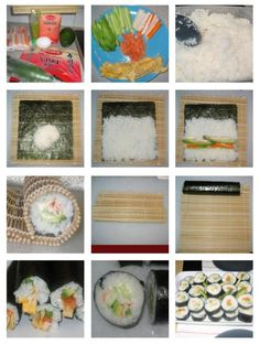 """How To Make Sushi At Home    This is not super-traditional sushi, but I think its pretty close and it tastes pretty good. The """"filling"""" ingredients can vary, and you can mix and match to create different rolls. This makes enough for 6 rolls, enough for 2 hungry sushi lovers (I do not use raw fish). Sushi is one of my all time favorite foods! (a"""