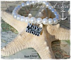 US Navy mom pearl charm bracelet by Son and Sea  FREE shipping  by sonandsea, $20.00