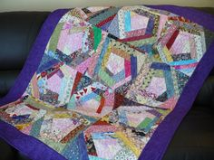 Patchwork lap quilt, crazy quilt, multi color, handmade, Cotton,  purple, pink, stipple machine quilting, by SimplyQuiltingbyBarb on Etsy