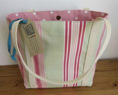 Shoulder Bag Striped Fabric Tote Bag Birthday by HectorsHouseCraft